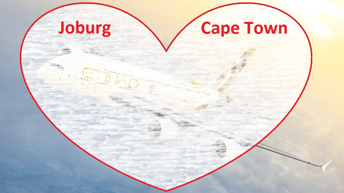 Etihad Airways plane inside a heart with the words Johannesburg and Cape Town