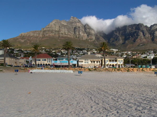 Camps Bay beach with Table Mountain
