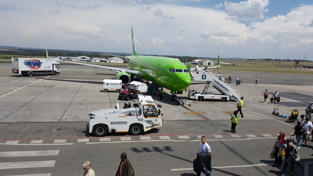 Kulula plane parked on the tarmac at Lanseria Airport.